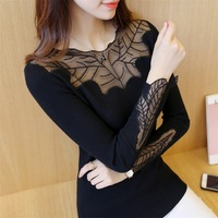 2017 New Arrival Red Women Elegant Long Sleeve Loose Cute Shirts Lace Blouse Plus Size Elasticity