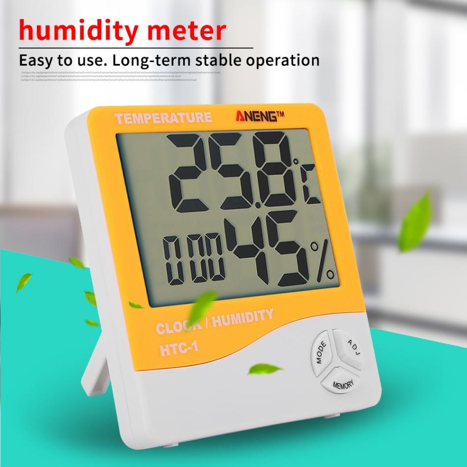 HTC-1 LCD Display Thermometer Hygrometer Indoor Temperature Humidity Meter Clock Assortment