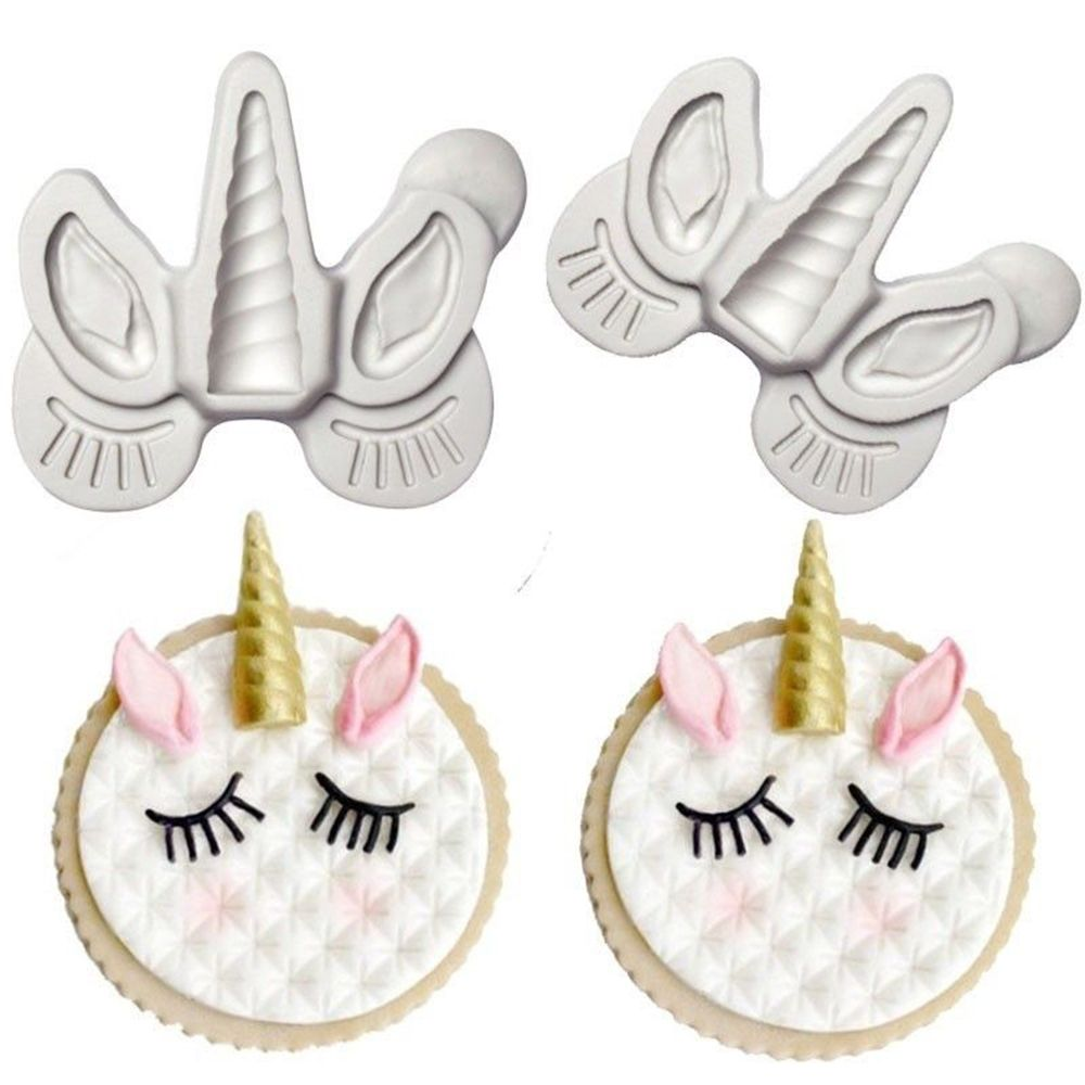 Unicorn Ear Eye Horn <font><b>Silicone</b></font> <font><b>Mold</b></font> Cupcake Decoration <font><b>Fondant</b></font> <font><b>Mold</b></font> DIY Party <font><b>Cake</b></font> <font><b>Decorating</b></font> <font><b>Tool</b></font> Candy Chocolate Gumpaste Mould image