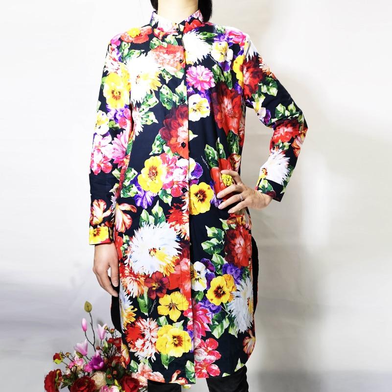 Hohe qualität designer Blusas mujer de moda frauen Langarm Blume Druck Pailletten Perlen Luxus Vintage Baumwolle Lange Shir-in Blusen & Hemden aus Damenbekleidung bei  Gruppe 3