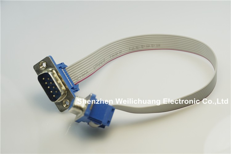 2 pcs D-sub Connector IDC Type 9 Pin male to Female assembly 9 conductor Grey Flat Cable UL2651 28 AWG 25cm Length