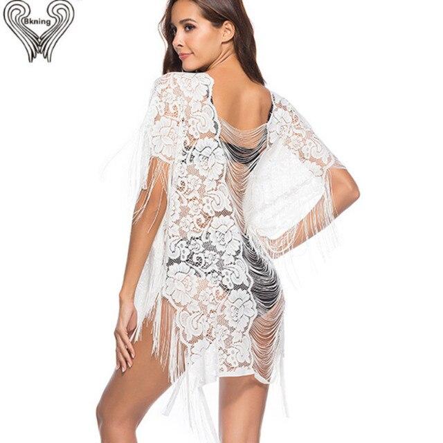 a1b46032f Floral Lace Beach Cover Up 2018 Pareo Beach Wear Cover Ups Kaftan Bikini  Swimming Dress For Women Playa Mayo Praia White Black