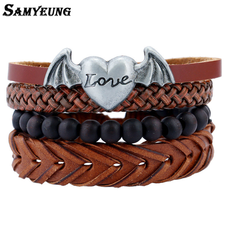 SamYeung 4Pcs Angel Wing Love Bracelets Leather Femme Handmade Wood Beads Cuff Bracelet for Male Women Braslet Pulseras Set Sale