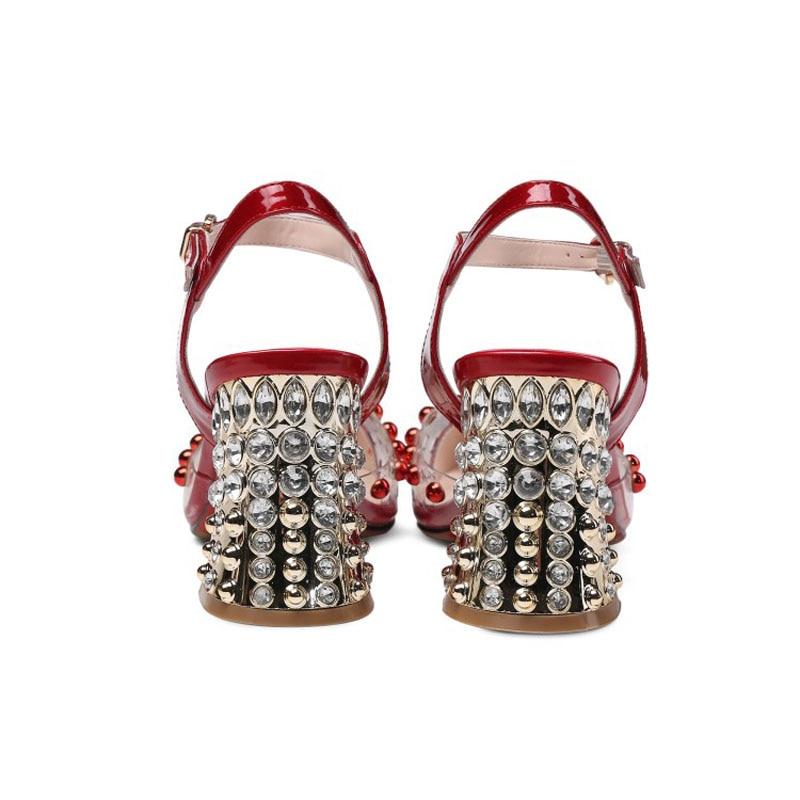 Transparent Clouté Femmes De White Haute blue Boucle Bout Zapatos Talons red Perle Strass À Chaussures Mujer Cristal Pointu Sangle Pompes Elegent Pvc qOvEtxtg