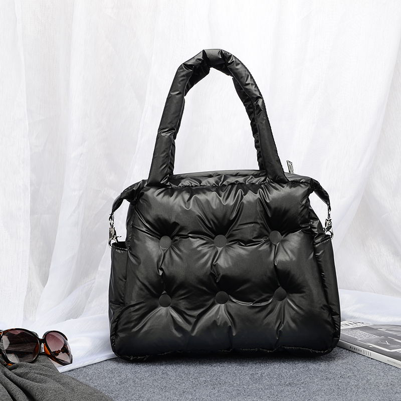 Image 3 - Winter new Women Space Pad Cotton Feather Down Bag Bucket Handbag  nylon Shoulder Tote sac a main carteira Bolsa Feminina