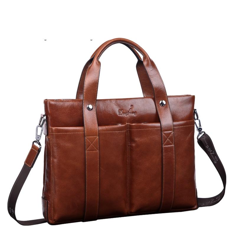 ФОТО DongHong genuine business bag Men's formal briefcase handbag classic cowhide shoulder bag high-end luxury messenger bag