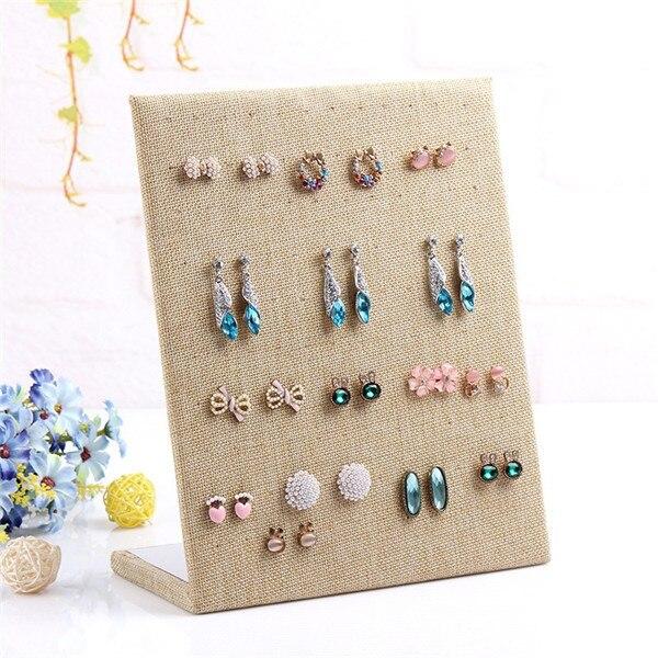 Fashion Linen Material Display Shelf Board Pin Earrings Jewelry Earring Holder Box