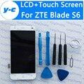 Para zte blade s6 tela novo display lcd + de toque digitador assembléia painel de vidro de substituição para zte s6 1280x720 hd 5.0 polegada