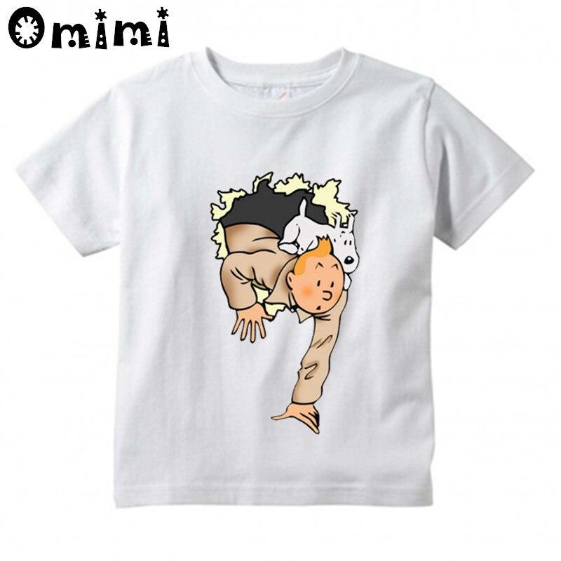 d58b4cef6 Corta Ropa Diseño Estampadas Y De Para Niño Niña Verano Camisetas Tintín  Camiseta Manga Blanca Niños ...