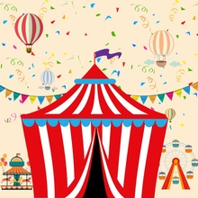 Laeacco Cartoon Circus Tent Hot Air Balloons Baby Photography Backgrounds Customized Photographic Backdrops For Photo Studio