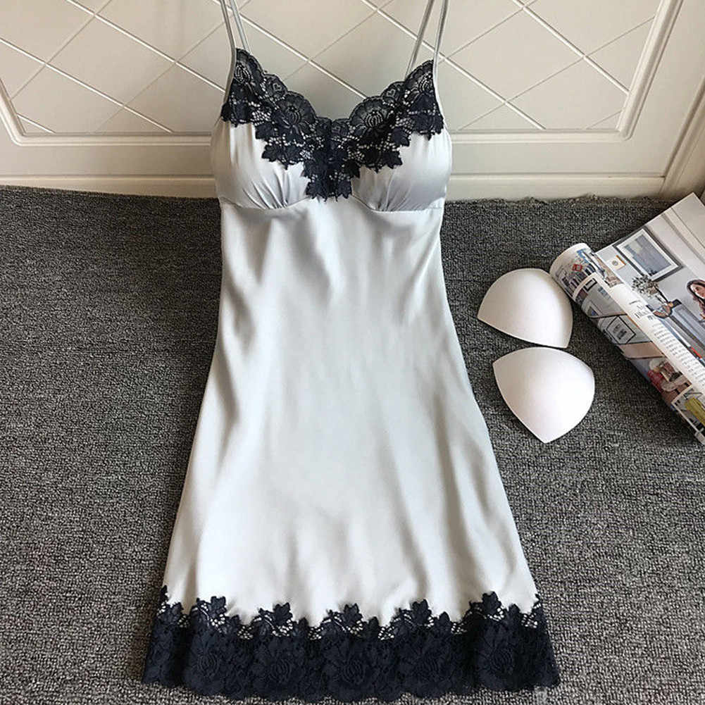 2019 camisola de seda de cetim pijamas das senhoras das mulheres nightwear lingerie sexy com almofadas no peito intimate # bz