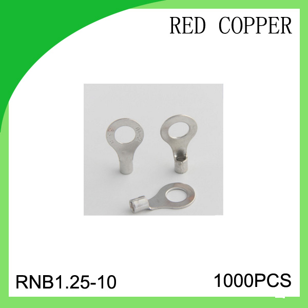 red copper 1000 PCS RNB1.25-10 cold-pressure terminal  connector cable lug hot sales 5 2 circular annular lug ground lug 100 to loop wiring lug cold copper tips