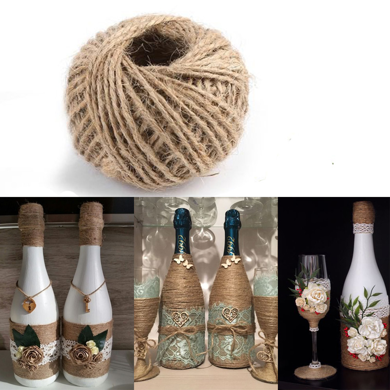 30Meters Natural Burlap Hessian Jute Twine Cord Hemp Rope Wedding Decoration Gift Wrapping String Cords Christmas Event Party