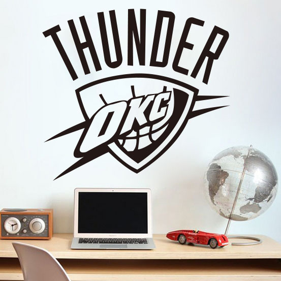 Home Decoration Oklahoma City Thunder NBA American Professional Basketball  Team Logo Wall Stickers Living Room Bedroom