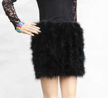 women skirt of natural ostrich feather fur female fashion mini blue pink 5 colors warm Plus Size  V21