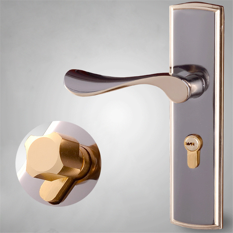 1Set Space Aluminum Interior Lever Door Handle Lock Simple European Solid Handles Lockset + Keys For Bedroom Indoor Locker baldwin hardware 5170s 320 rmr estate classic lever indoor door