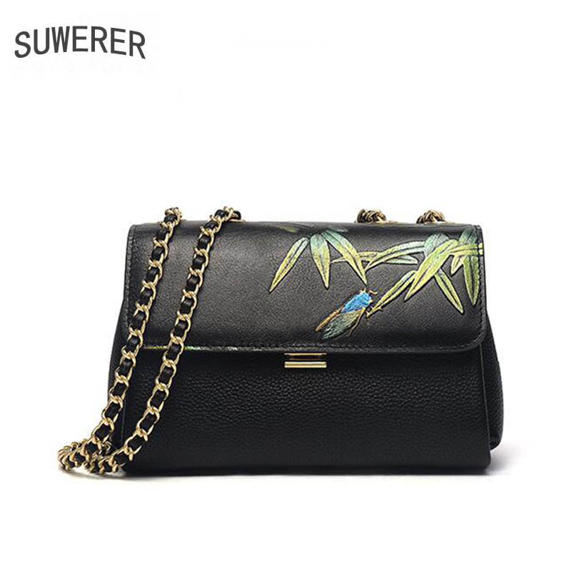 SUWERER 2019 New Women Genuine Leather bags luxury handbags women bag designer Cowhide Embossed bag women leather shoulder bag