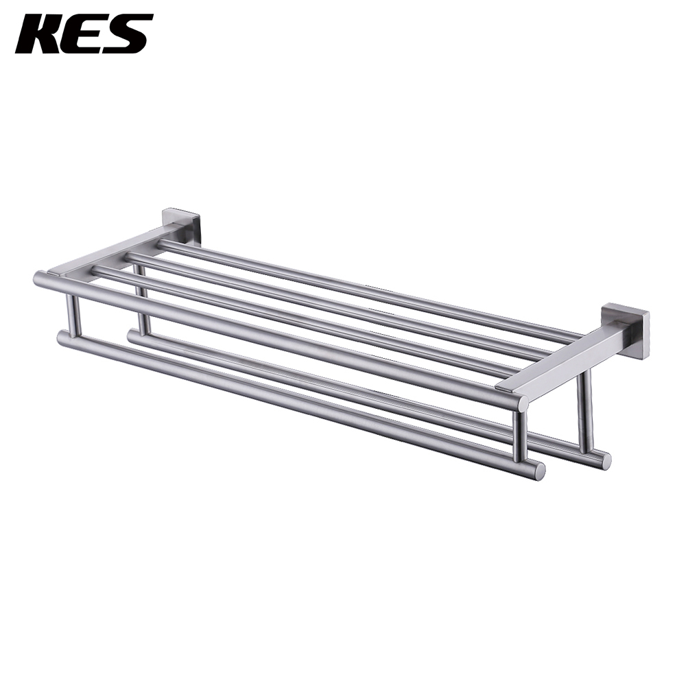 KES A2112-2 Shelf with Towel Rack Minimalist Stainless Steel Towel Rack with Two Towel Bars Wall Mounted, Brushed Steel shelf