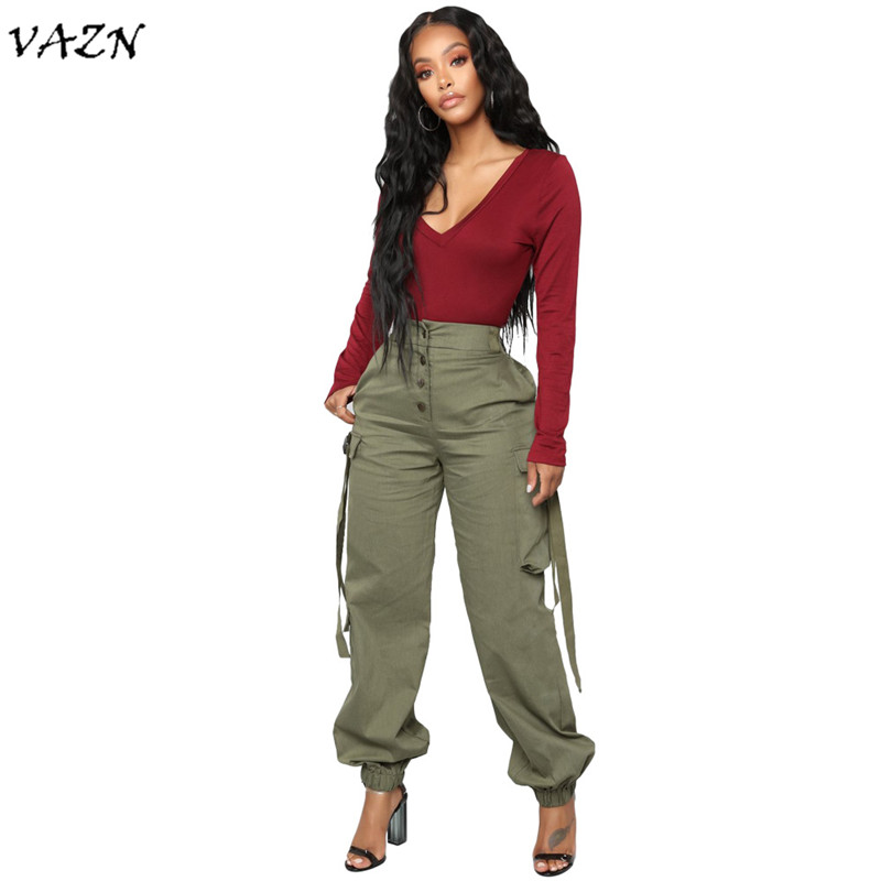VAZN Summer Hot 2018 Sexy Solid Cargo Pants Women Pockets Ribbon Loose Long Pants Ladies Button Fly High Waist Pants LSL6181