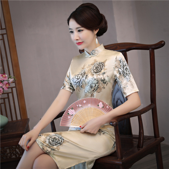 Summer New Oriental Lady Traditional Chinese Style Cheongsam Dresses