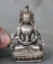 Tibet Buddhism Fane Silver Amitayus longevity God Goddess Buddha Statue Figurine