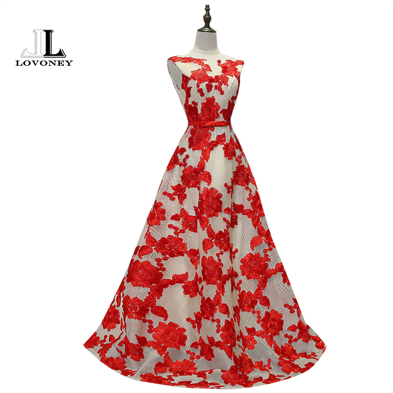 LOVONEY M232 Red   Prom     Dress   2019 A-Line V-Neck Long Formal   Dresses   for Gratuating Date Women Occasion   Dresses   Robe De Soiree