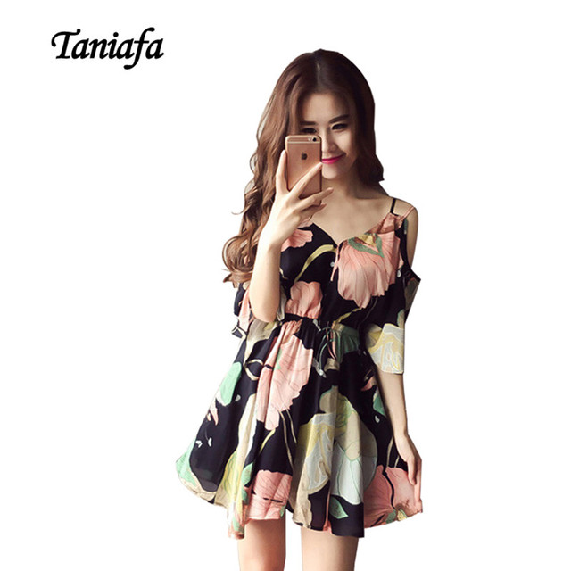 ecc375b0c3c4 TANIAFA Cold Shoulder Dresses Chiffon Short 2017 Floral Dress Women Print Sundress  Fashion Ruffles Beach Summer Dress Clothes
