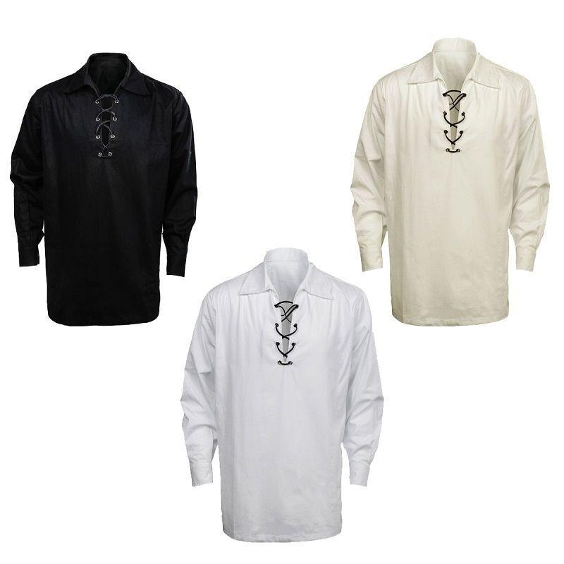 Takerlama Men's Scottish Jacobite Ghillie Kilt Shirt Casual Shirt