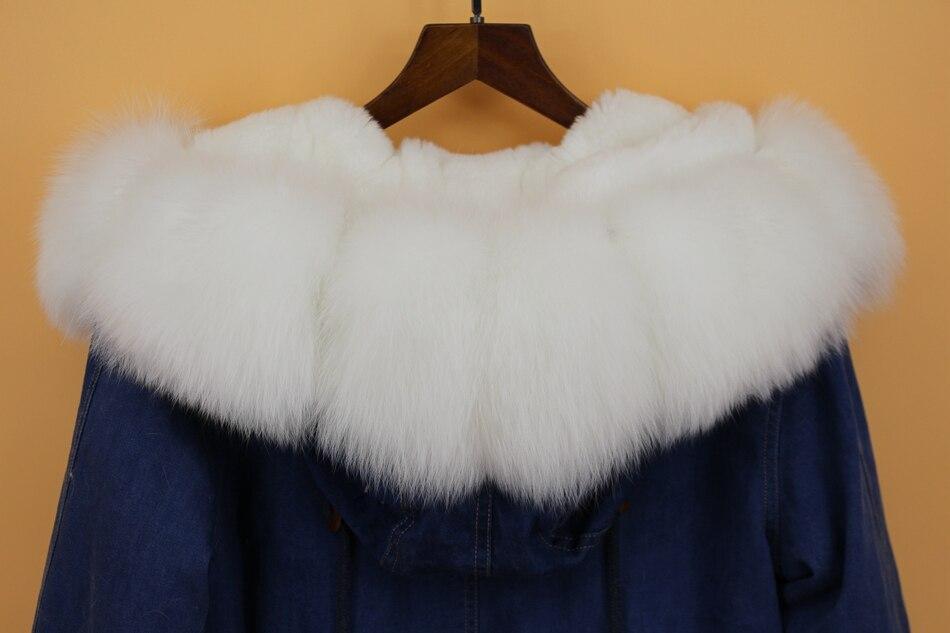 women demin fur parka natural fox fur hoody  (11)