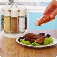 Cozinha Organizador Rotativo de Vidro Caixa de Tempero Jar Galheteiro 8 Pçs/set