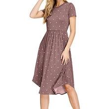 boho women dress womens clothing new fashion  ladies female casual polka dots printed mini dresses
