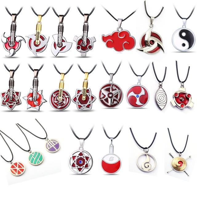 Japan Anime Necklace Naruto Symbol Pendant Uzumaki Uchiha Sasuke Konoha Necklacess Choker Necklace
