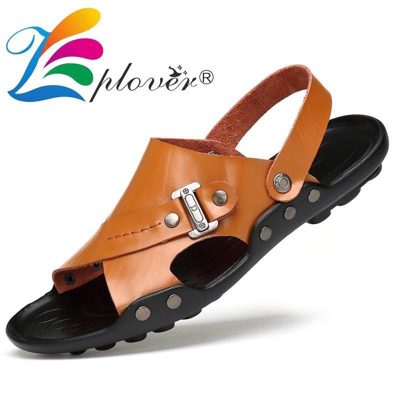Plus Size 35-47 Men Sandals Genuine Leather Shoes Summer Men's Slippers Outdoor Beach Sandals Casual Breathable Men Shoes