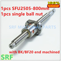 25mm Linear Rolled Guide Ballscrew RM2505 Rolled ballscrew L=800mm with SFU2505 ball nut with BK/BF20 end processing CNC