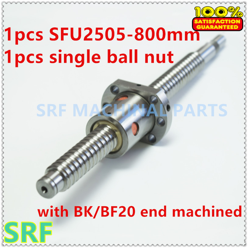 25mm Linear Rolled Guide Ballscrew RM2505 Rolled ballscrew L=800mm with SFU2505 ball nut with BK/BF20 end processing CNC kids pineapple print tee with rolled hem shorts