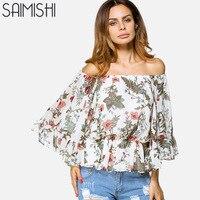 Saimishi Size M XL Botanical Print Chiffon Blouses Fashion Ruffles Hem Exaggerate Flare Sleeve Off The Shoulder Women Tops