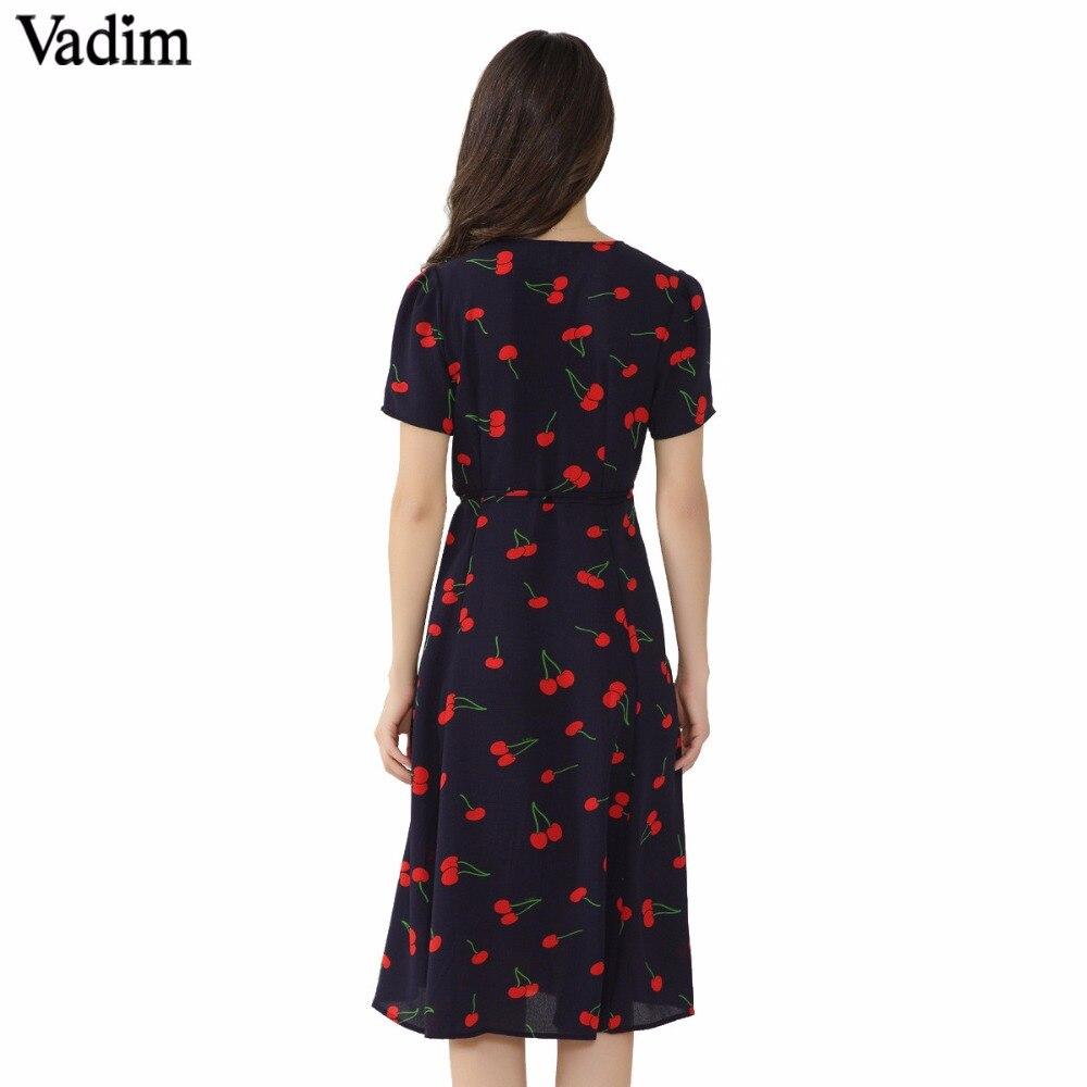 Vadim vintage V neck floral pattern midi wrap dress cherry dress bow tie cross design short sleeve retro vestido mujer QZ3506