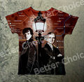 Track Ship+Vintage Retro T-shirt Top Tee Sherlock Holme and Watson Finding Beside Street Lamp London Subway Line 0854