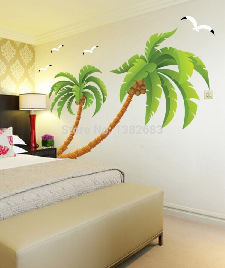 Superior Free Shipping XXL Size Beach Tall Palms Coconut Tree Waterproof DIY  Removable Wall Stickers Parlor Kids Bedroom Home Decor House