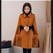 2017 New Autumn Winter Warm Shawl Cloak Woolen Coat Female Medium Style Temperament Outerwear Fashion Leisure Woolen Parka Q942(China)
