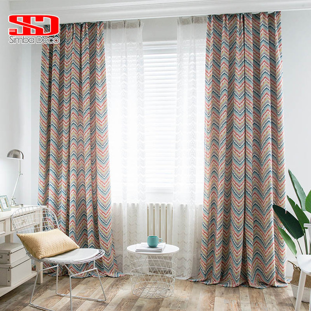 Modern Cotton Blackout Curtains For Living Room Geometric Wave Roman Blinds  Kids Panels Drapes For Bedroom