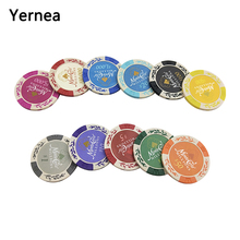 Yernea 25PCS/Lot Dollar Wheat Clay Poker Chips Coins Baccarat Texas Hold'em Color Crown Clay Poker Playing Chips 11 Colors yernea 25pcs lot poker chips 14g crown sticky clay coin baccarat texas hold em poker set for game play chips color crown yernea