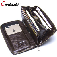 Contact's Genuine Leather Wallet Clutch Men Business Card Holder Passport Phone Cases Wrist Coin Purse Organizer Money Bag Purse