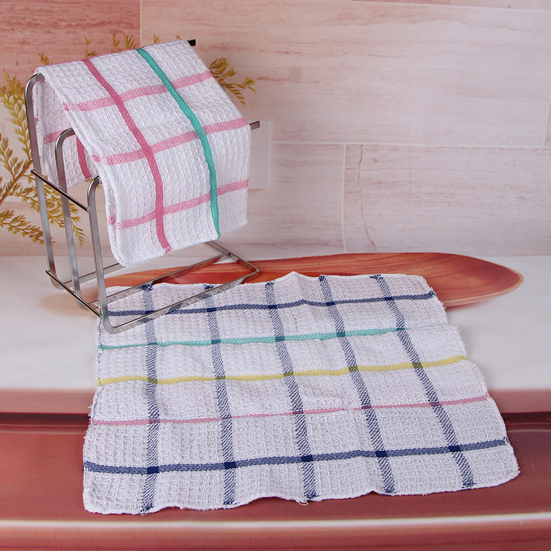3pcs QF024 100 cotton Restaurant kitchen washroom Colorful super absorbent jacquard waffle kitchen towel cleaning cloth35 quot x35 quot in Cleaning Cloths from Home amp Garden