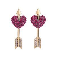 RUISKA Trend Fashion Jewelry Rose Red Crystal Piercing Heart Stud Earrings Heart-shaped Eersonality Eemovable Eemale Earrin