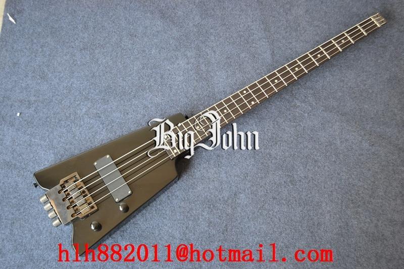 free shipping new Big John headless electric bass guitar in black made in China+foam box  F-1972 free shipping retail new electric bass guitar body in natural color foam box