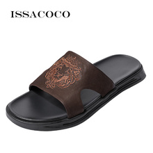 ISSACOCO Summer Mens Genuine Leather Slippers Totem Flip Flops Beach Sandals Outdoor Leisure Non-slip Men Home