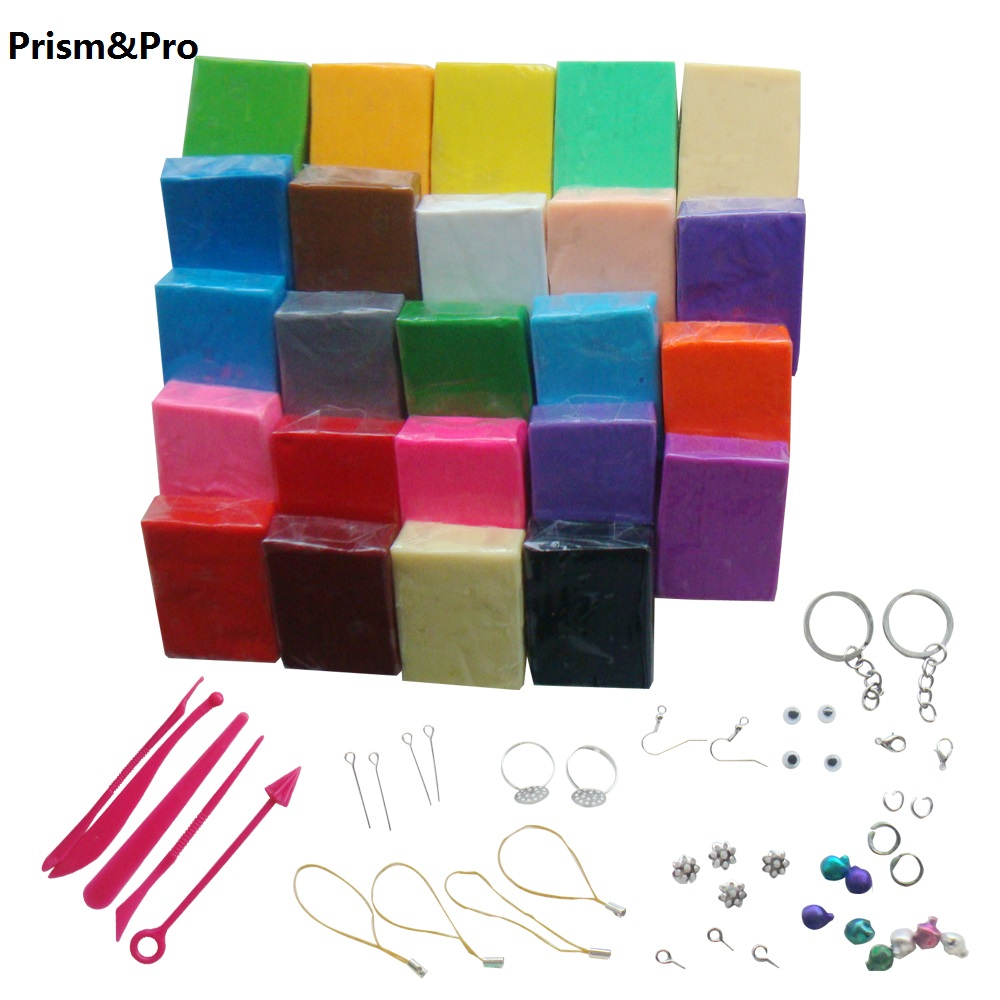 24 Colors Flexible Durable Texture Polymer Clay DIY Soft Modelling Clay Set With 5 Pcs Tools Gift Box For Child Nontoxic Toys