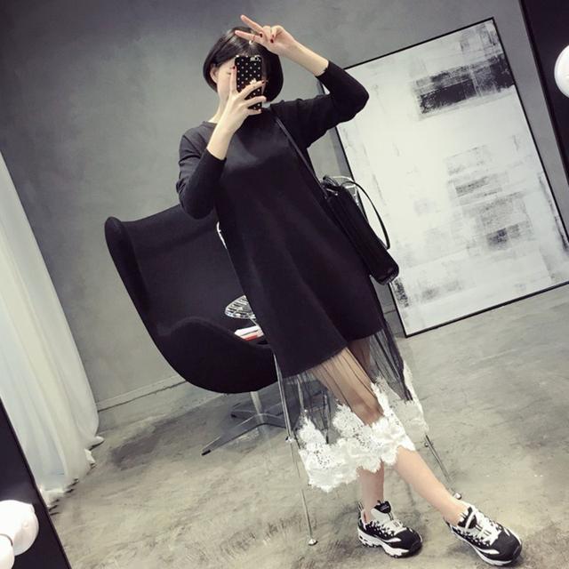 [Soonyour] 2017 nuevo otoño del cordón común partido cuello redondo de manga larga negro dress mujer marea de la manera sweet ha04821