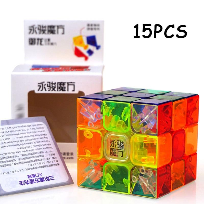 15 pièces YJ YongJun Yulong 3x3x3 cube magique haute qualité Transparent Non autocollant Cubo magico jouets pour enfants Puzzle cube cadeaux
